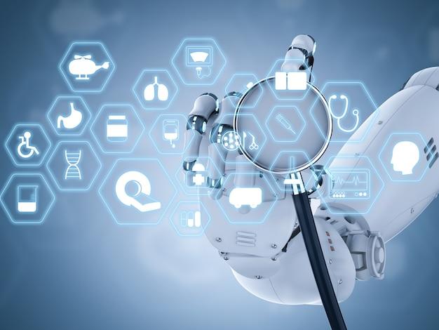 청진기를 들고 로봇 손으로 3d 렌더링 의료 인터페이스