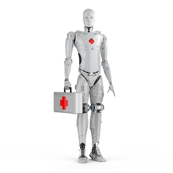 3d rendering medical robot with red cross sign on white background