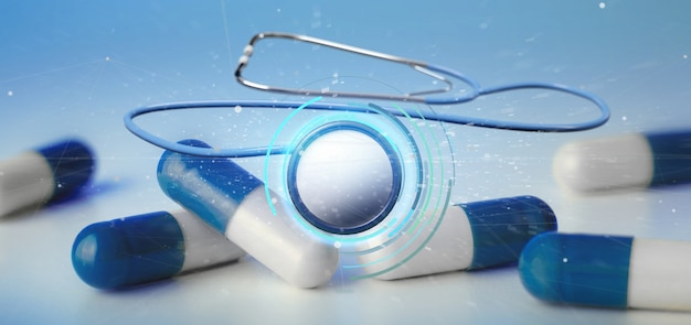 3d rendering medical stethoscope isolated