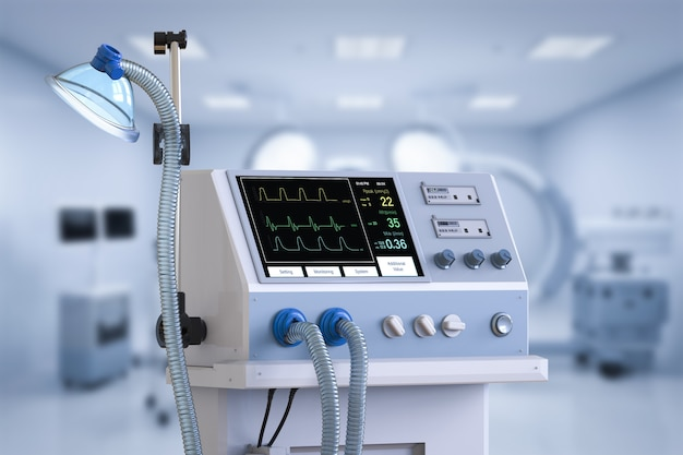 3d rendering medical ventilator machine in hospital