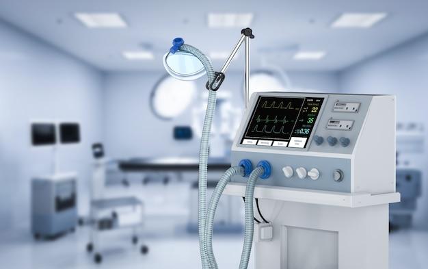 병원에서 3d 렌더링 의료 인공 호흡기 기계