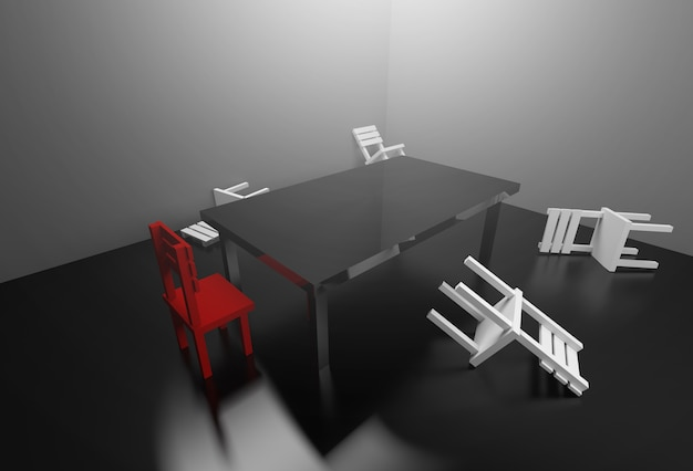 3d rendering meeting room managing conflict in meetings concept.