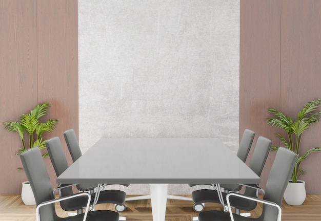 3d rendering meeting room with chairs,  table and little tree