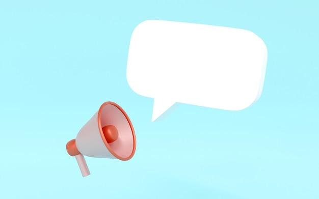 Мегафон 3d-рендеринга и значок пузыря речи для коммерческого дизайна