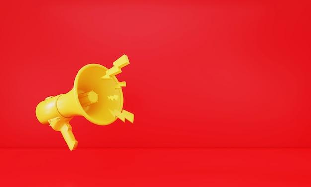 3d rendering  megaphone on background advertise promotion background sale season retro gadget