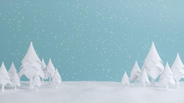 3d-рендеринг, концепция с новым годом и рождеством, низкополигональная сосна с дизайном сцены снега, иллюстрация 3d