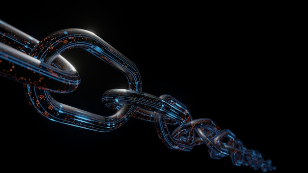 3d rendering of metal chains with digital data in glowing blue and orange color on dark background.