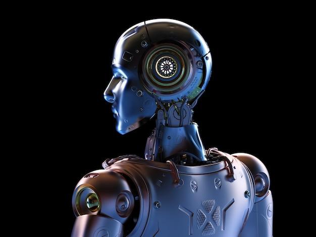3d rendering metal cyborg or robot in black background