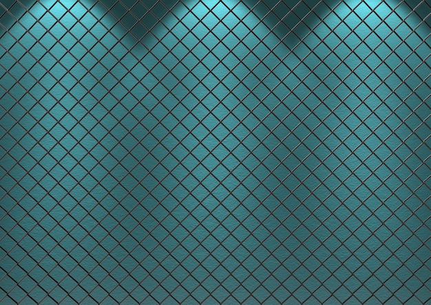 3d rendering. metal grid mesh with blue cerulean color cenment wall as background.