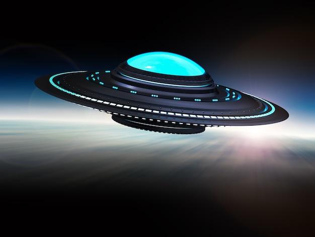 흰색에 고립 된 3d 렌더링 금속 ufo 또는 외계인 우주선