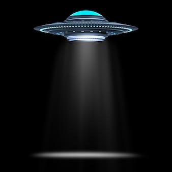 검은 배경에 3d 렌더링 금속 ufo 또는 외계인 우주선