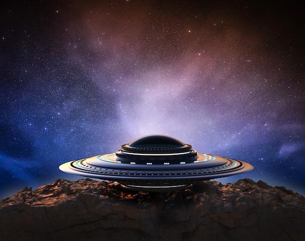 3d 렌더링 금속 ufo 또는 우주에 외계인 우주선