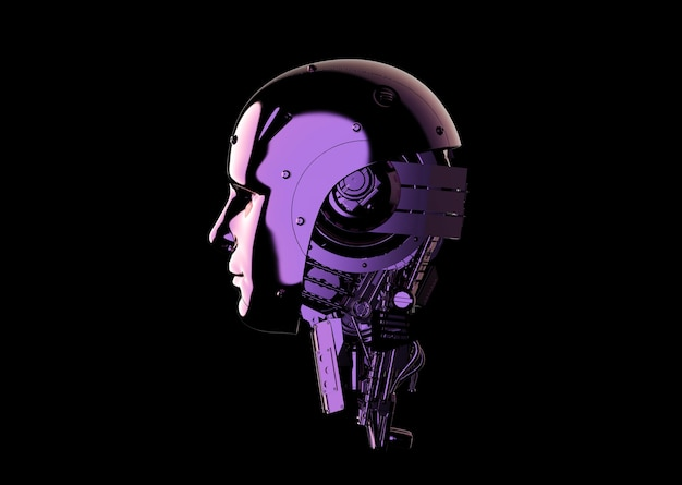 3d rendering metallic ai robot or cybord isolated on black background