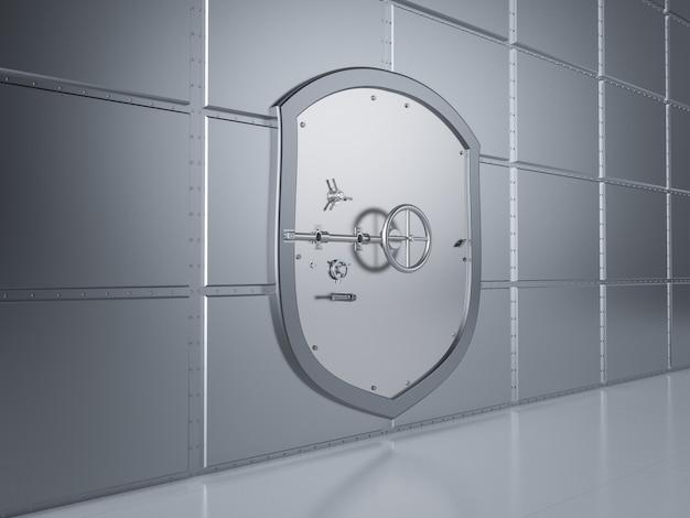 3d-рендеринг металлического банковского сейфа или банковского хранилища