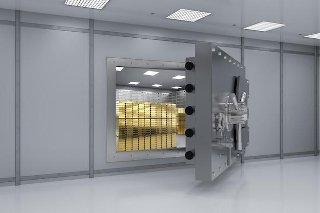 3d-рендеринг металлического банковского сейфа или стального открытого сейфа