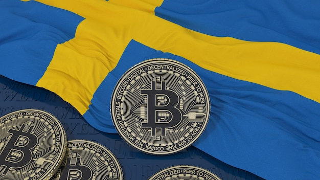 3d rendering of a metallic bitcoin over an swedish flag