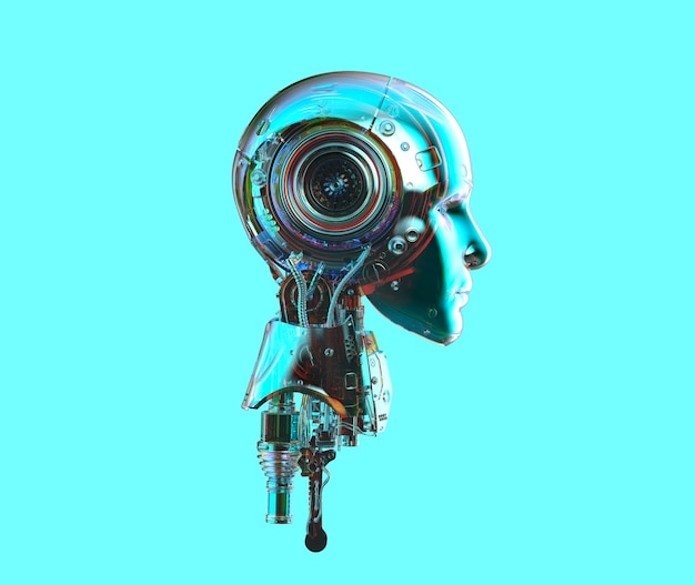 3d rendering metallic blue ai robot or cyborg on blue background