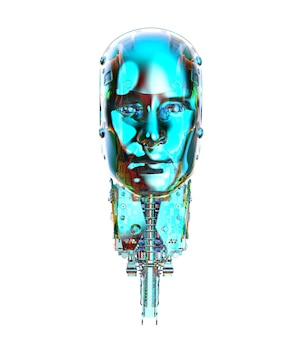 3d rendering metallic blue ai robot isolated on white background