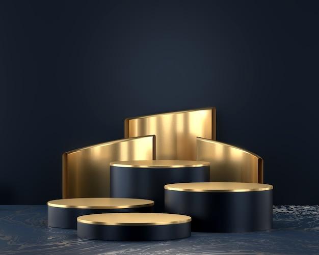 3d rendering of a metallic modern podium
