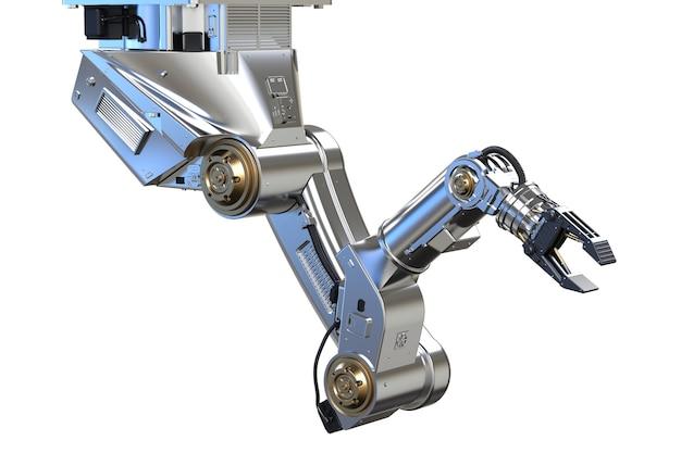 3d-рендеринг металлической роботизированной руки на белом фоне