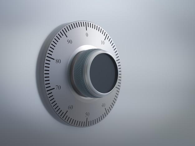 3d-рендеринг металлического хранилища с циферблатом и шкалой