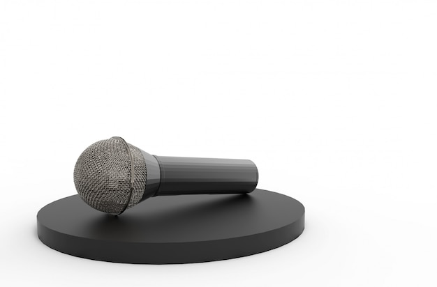 3d rendering. a microphone on black podium with copy space gray