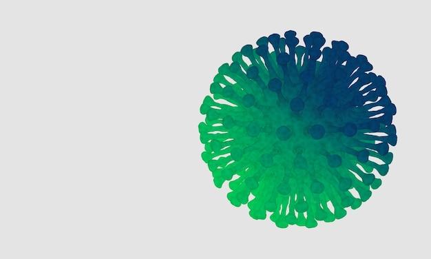 3d 렌더링. 흰색 바탕에 미세한 코비드-19 바이러스.