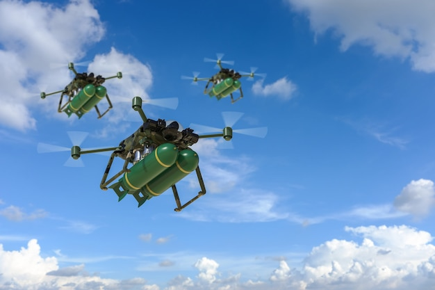 3d rendering military drone with missile in blue sky
