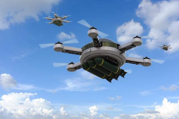 青空にミサイルを搭載した3dレンダリングミリタリードローン