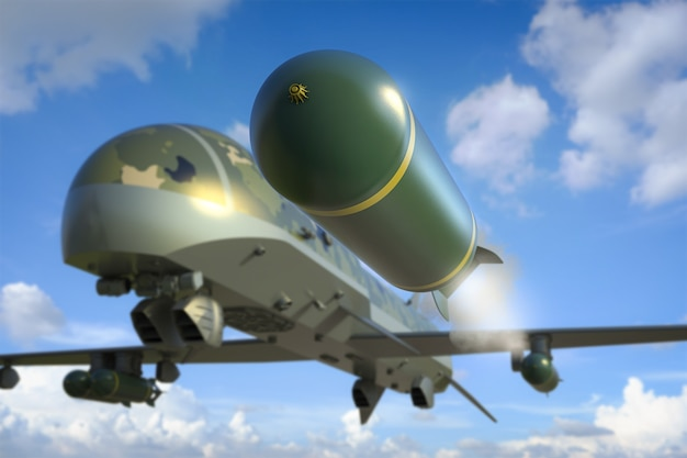 3d rendering military drone with missiles in blue sky