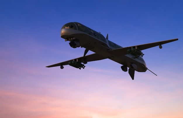3dレンダリング軍用ドローンが夕暮れの空を飛ぶ