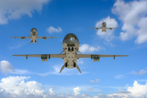3d rendering military drones fly in sky