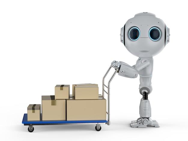 트롤리에 판지 상자가 있는 3d 렌더링 미니 배달 로봇