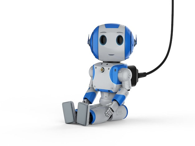 3d-рендеринг мини-робот на белом фоне