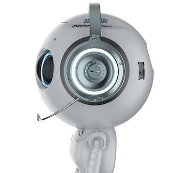 白い背景の上の3dレンダリングミニロボット着用ヘッドセット
