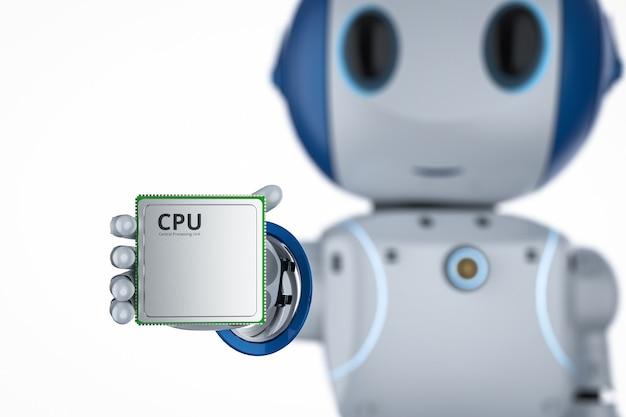Cpu 칩이 분리된 3d 렌더링 미니 로봇