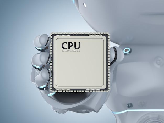 Cpu 칩이 있는 3d 렌더링 미니 로봇