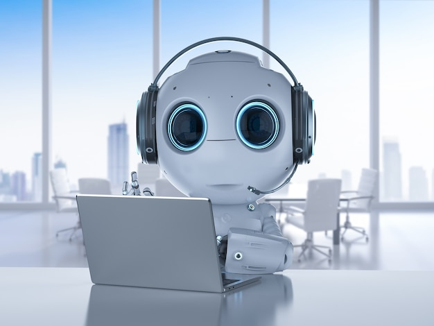 3d rendering mini robot working with headset and notebook