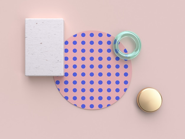 3d rendering minimal abstract flat lay background pink blue pattern wood