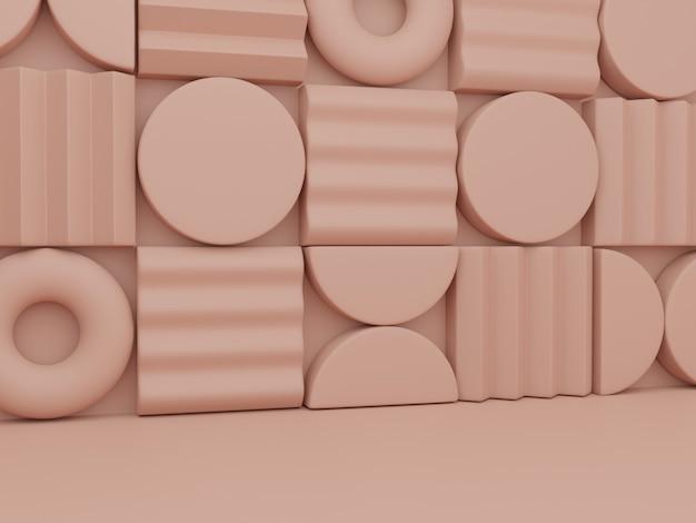 3dレンダリング最小限の抽象的なジグソーパズルまたはパズルブロック美容健康のための製品表示の背景