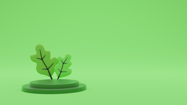3d 렌더링 최소한의 배경, 제품 표시를위한 연단과 녹색 장면. 프리미엄 포토