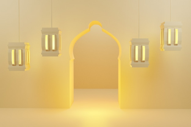 3d-рендеринг минимальной фоновой темы рамадана с отображением фонарей