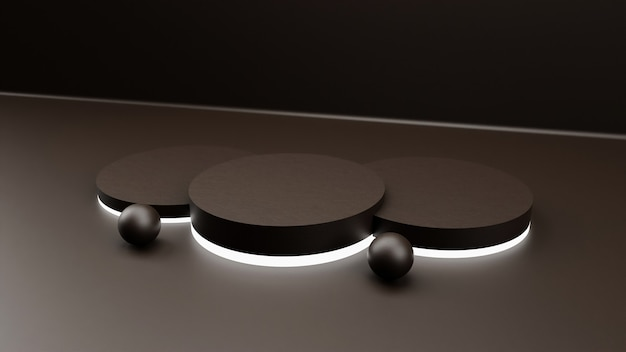 3d rendering minimal background, scene with podium and neon light for product display.