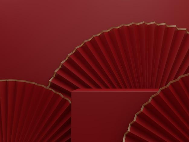 3d rendering minimal chinese korean or japanese style paper fan studio shot product display