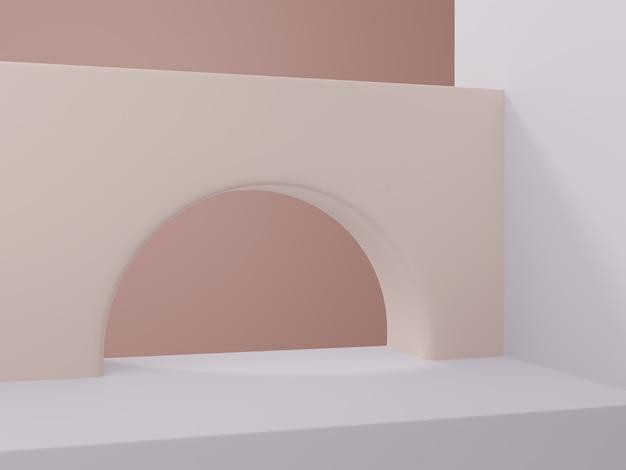 3d-рендеринг минимальной геометрической или абстрактной арки или головоломки блокирует фон дисплея продукта