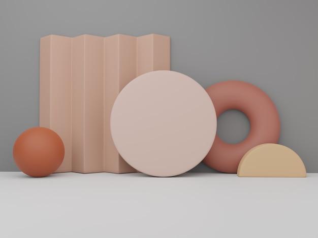 3d 렌더링 최소 기하학적 또는 추상 도자기 퍼즐 또는 직소 블록 제품 디스플레이