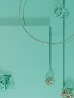 3d-рендеринг минимального геометрического фона дисплея продукта с платформой монохромный пастельно-бирюзовый