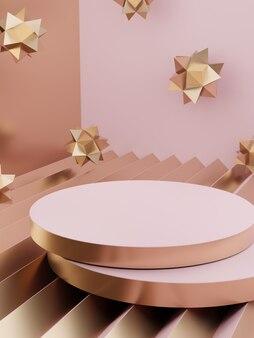 3d визуализация минимальный геометрический фон дисплея продукта с платформой розовый белый и золотой