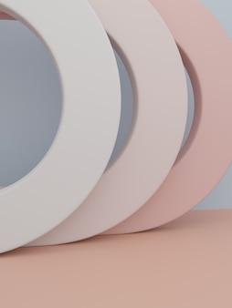 아름다움이나 유행 제품에 대한 3d 렌더링 최소한의 기하학적 소품 제품 디스플레이 배경