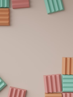 3d rendering minimal geometric puzzle or jigsaw blocks product display background for beauty